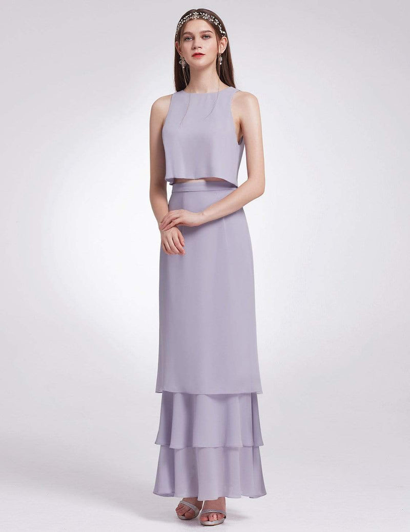 Two Piece Maxi Skirt And Top Bridesmaid Set-Dark Lavender 2