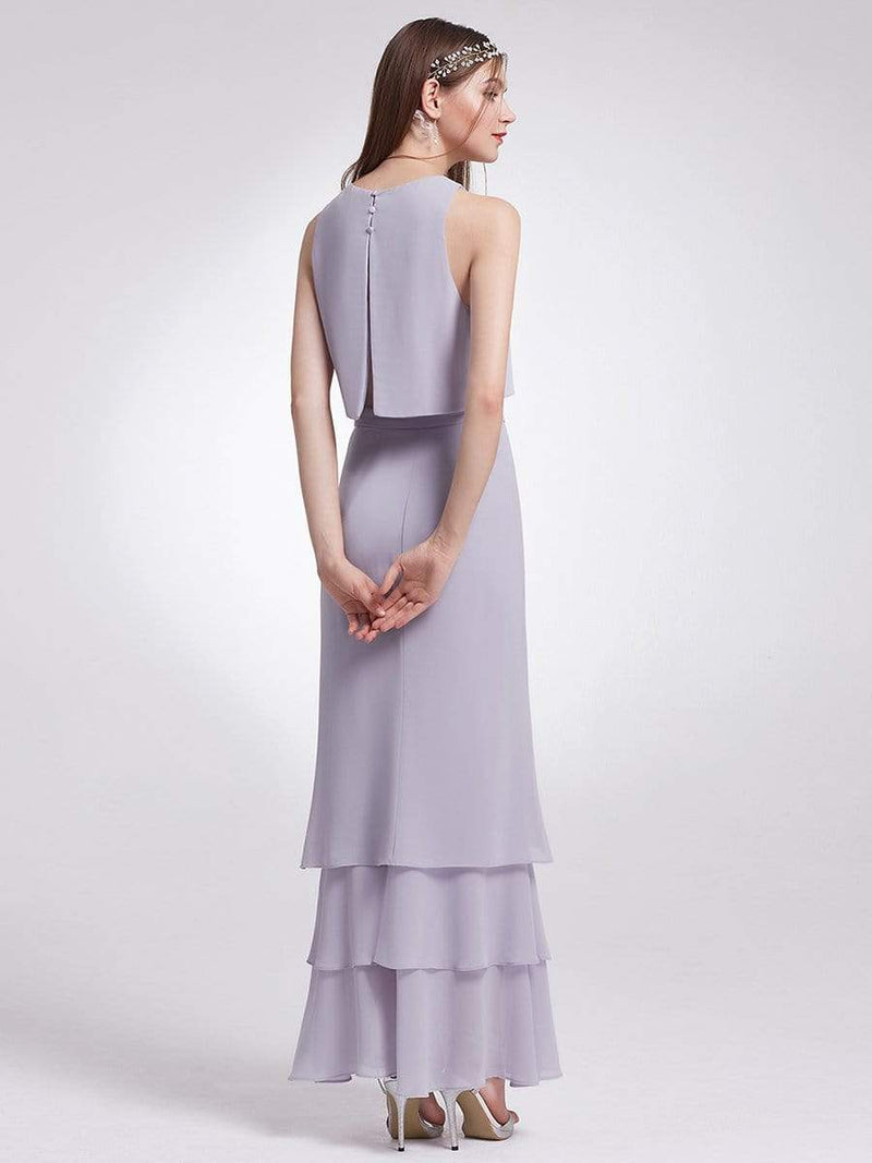 Two Piece Maxi Skirt And Top Bridesmaid Set-Dark Lavender 4