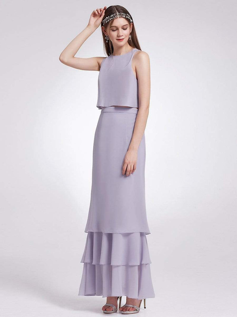 Two Piece Maxi Skirt And Top Bridesmaid Set-Dark Lavender 1
