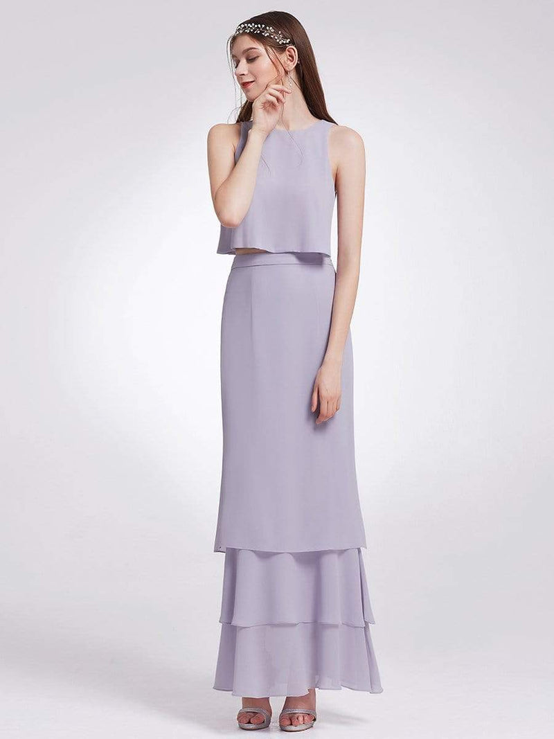 Two Piece Maxi Skirt And Top Bridesmaid Set-Dark Lavender 3