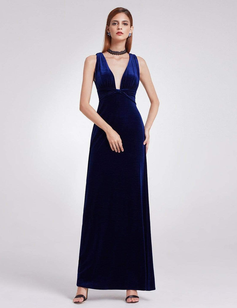 Sexy V-Neck Velvet Evening Gown-Midnight Blue 1