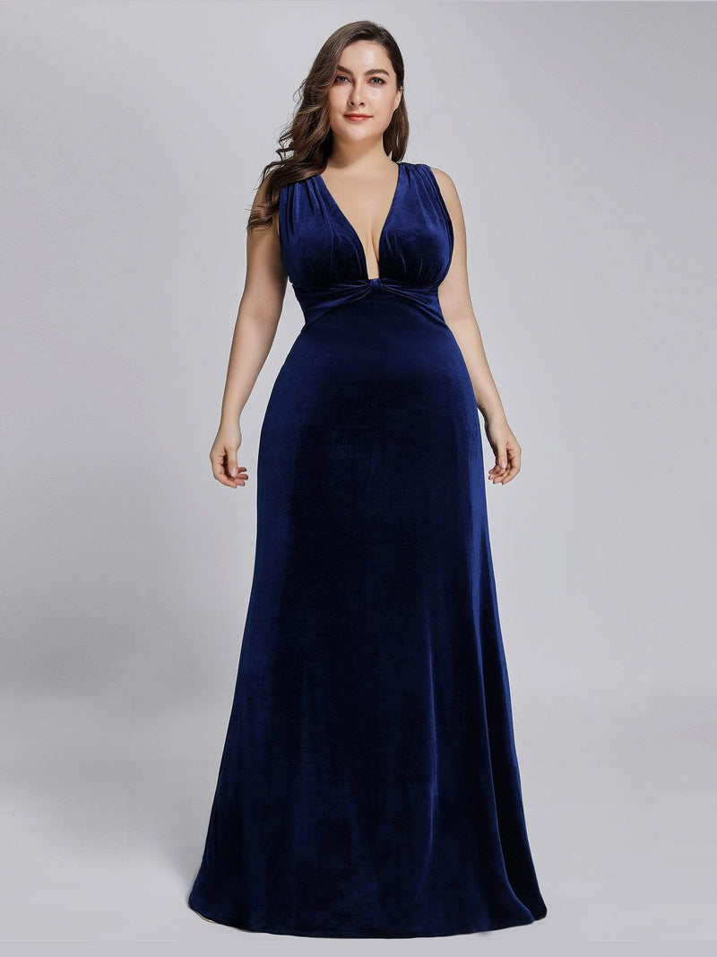 Sexy V-Neck Velvet Evening Gown-Midnight Blue 8