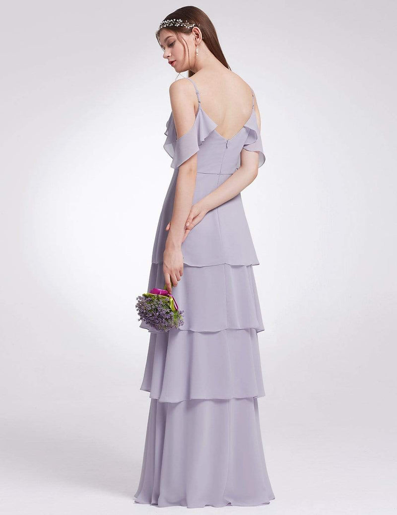 Off Shoulder Long V Neck Bridesmaid Dress-Dark Lavender 2