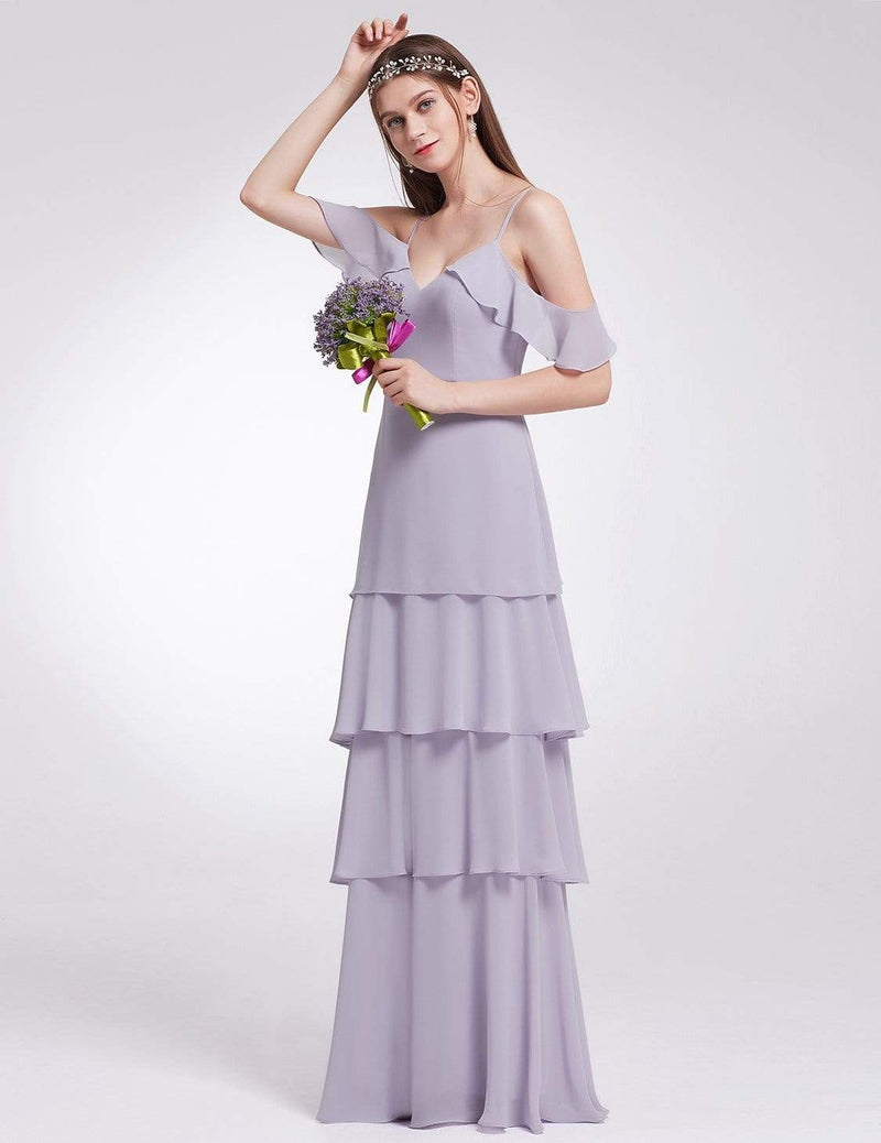 Off Shoulder Long V Neck Bridesmaid Dress-Dark Lavender 3