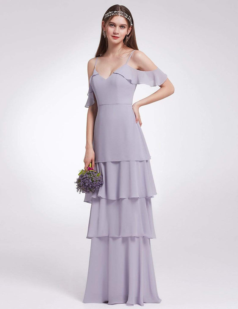 Off Shoulder Long V Neck Bridesmaid Dress-Dark Lavender 4