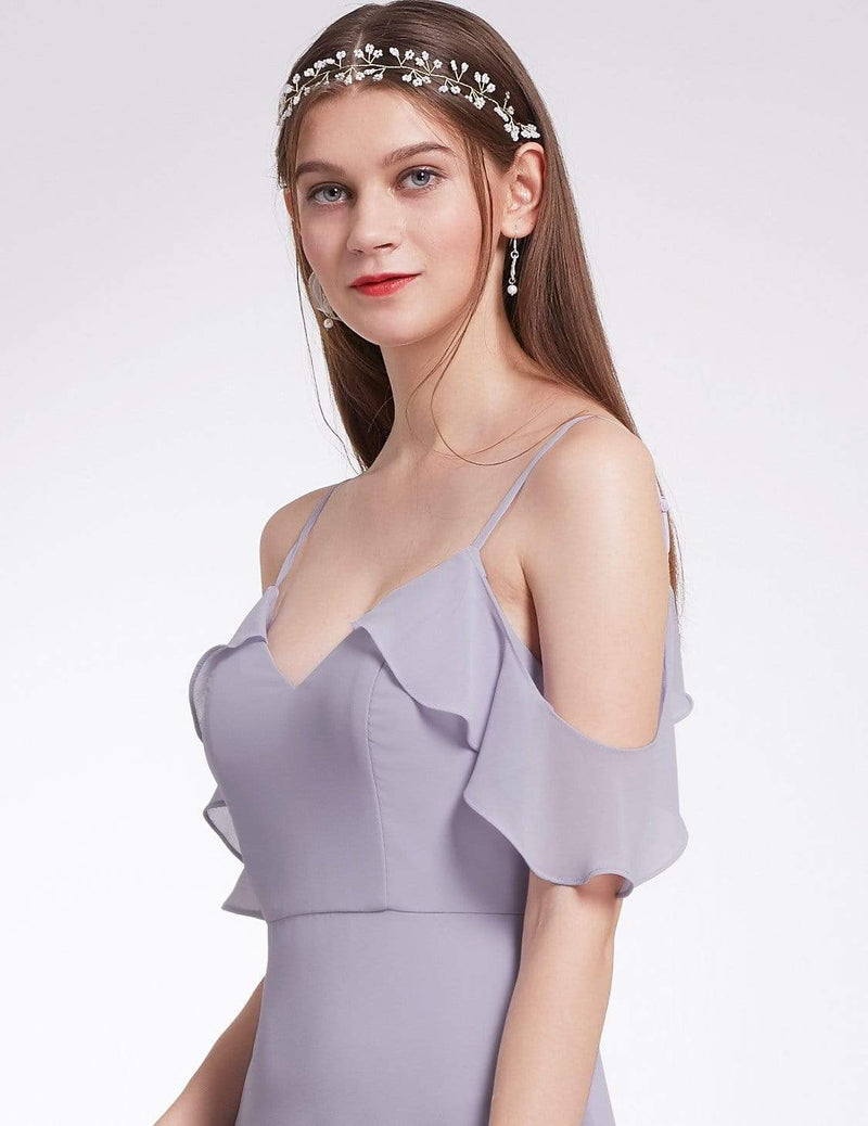 Off Shoulder Long V Neck Bridesmaid Dress-Dark Lavender 5