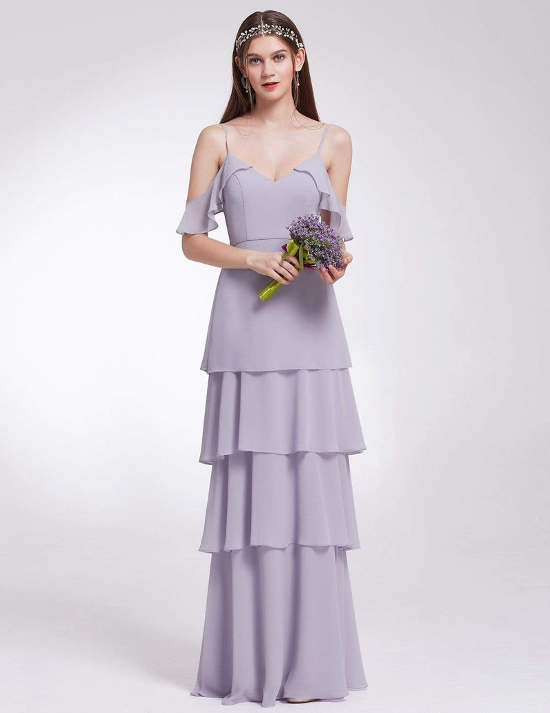Off Shoulder Long V Neck Bridesmaid Dress-Dark Lavender 1