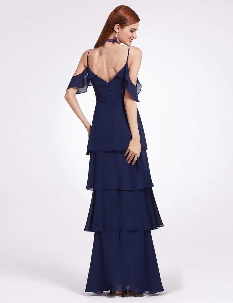 Off Shoulder Long V Neck Bridesmaid Dress-Navy Blue 2