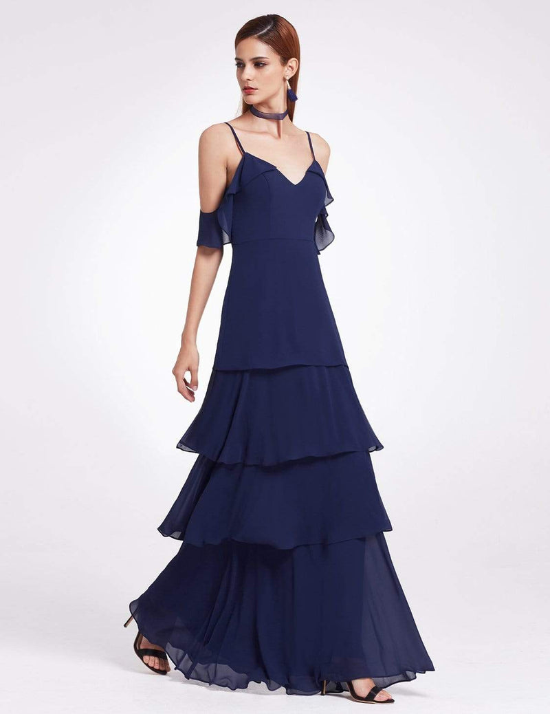Off Shoulder Long V Neck Bridesmaid Dress-Navy Blue 3