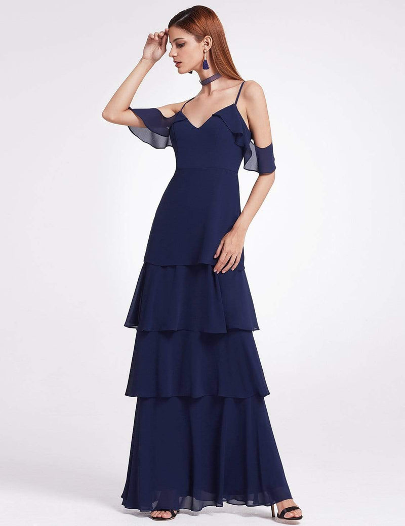 Off Shoulder Long V Neck Bridesmaid Dress-Navy Blue 4
