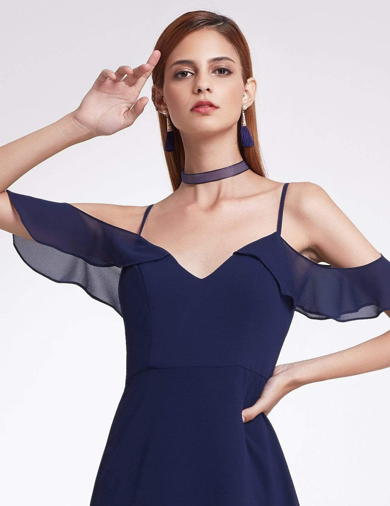 Off Shoulder Long V Neck Bridesmaid Dress-Navy Blue 5