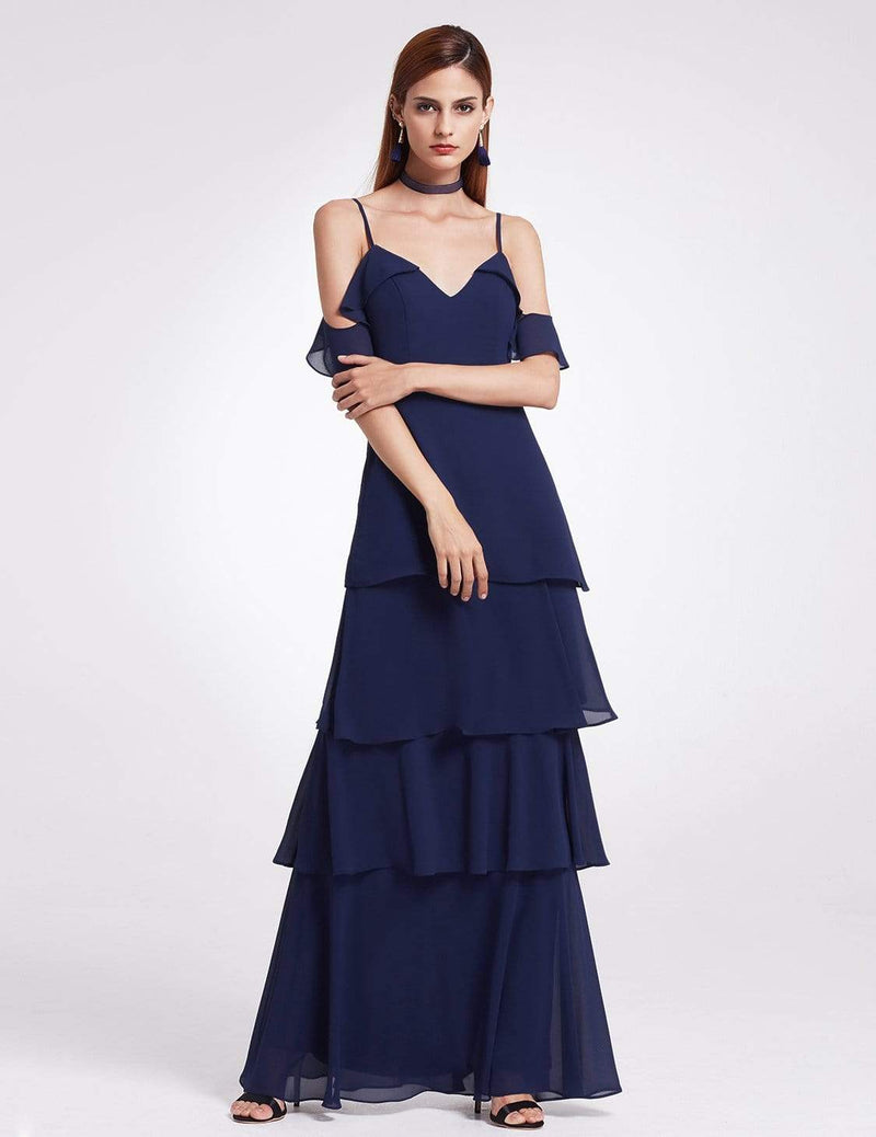 Off Shoulder Long V Neck Bridesmaid Dress-Navy Blue 1