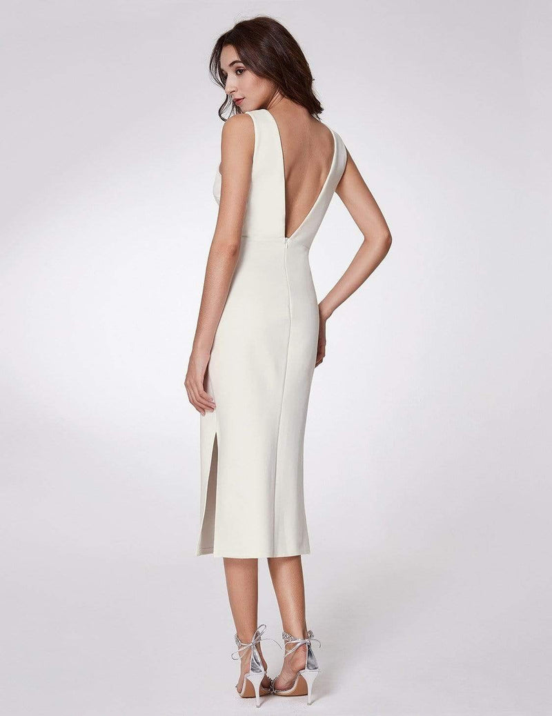 Sexy Fitted Midi Dress With Open Back-White 2