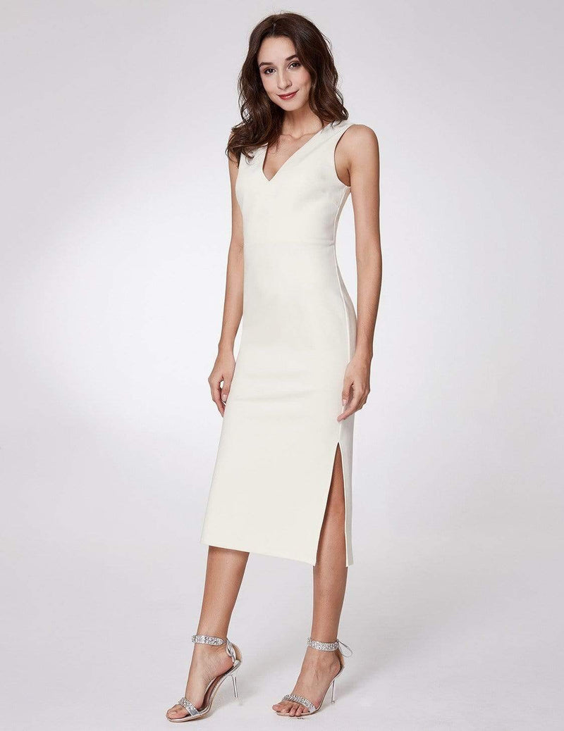 Sexy Fitted Midi Dress With Open Back-White 3