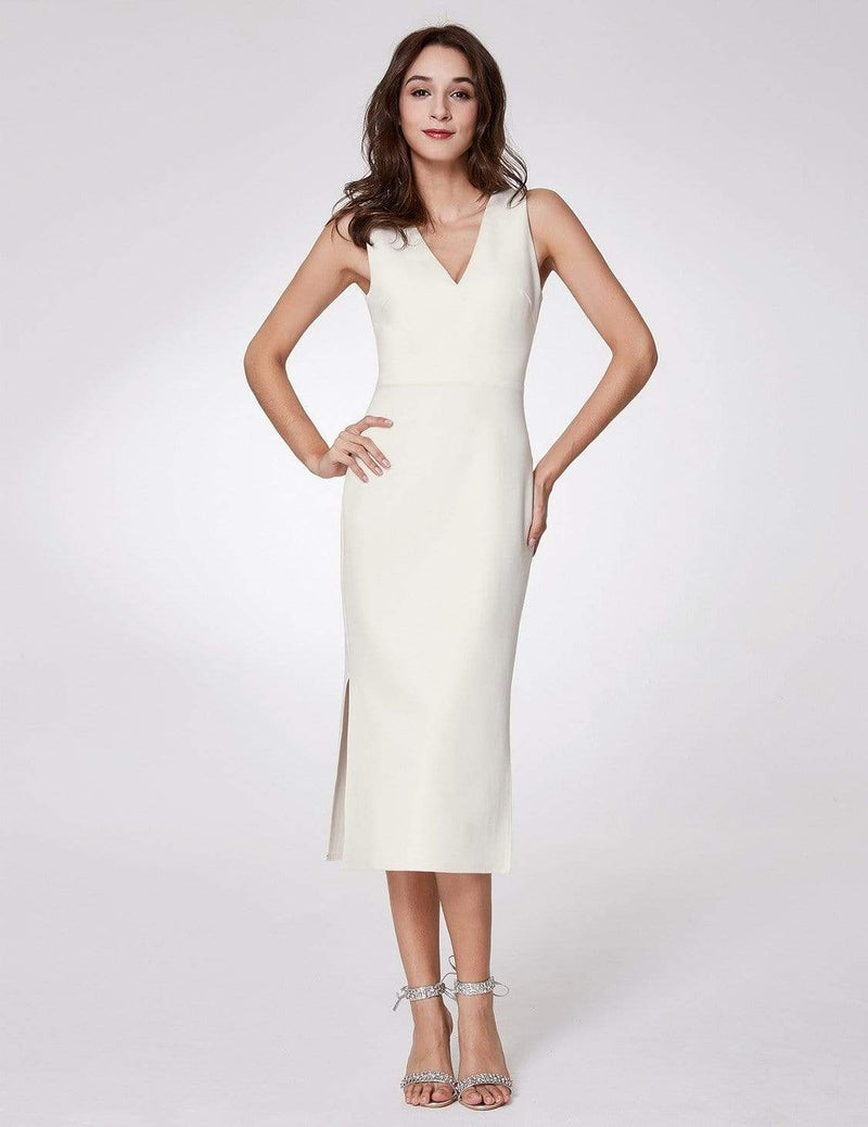 Sexy Fitted Midi Dress With Open Back-White 4