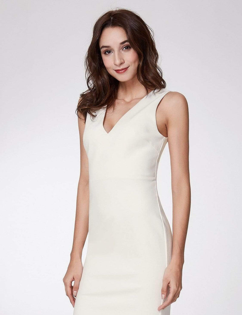 Sexy Fitted Midi Dress With Open Back-White 5