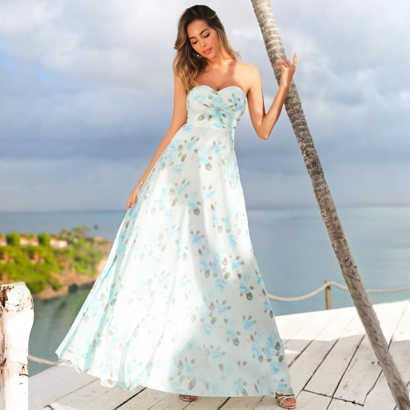 Strapless Long Floral Print Maxi Dress-Sky Blue 1