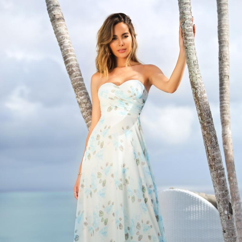 Strapless Long Floral Print Maxi Dress-Sky Blue 2