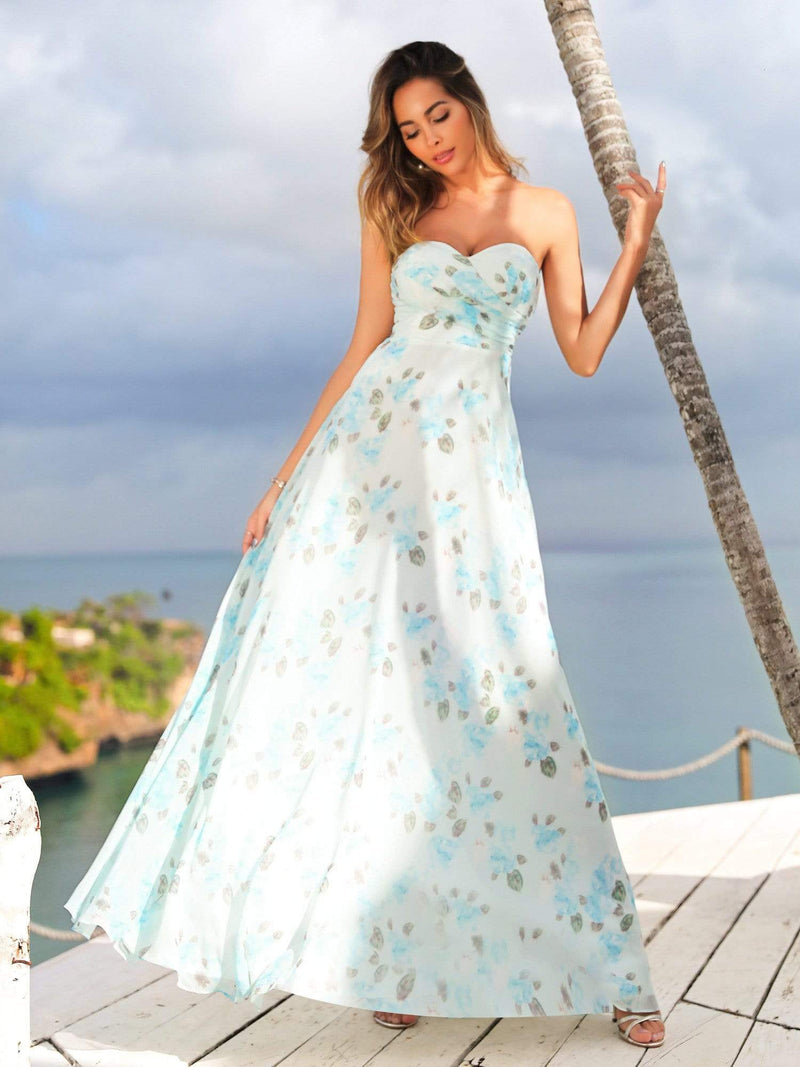 Strapless Long Floral Print Maxi Dress-Sky Blue 4