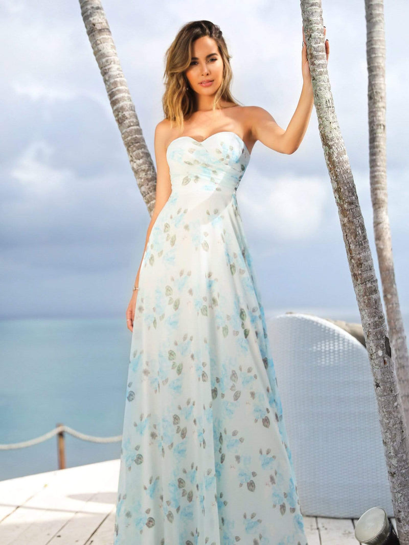 Strapless Long Floral Print Maxi Dress-Sky Blue 5