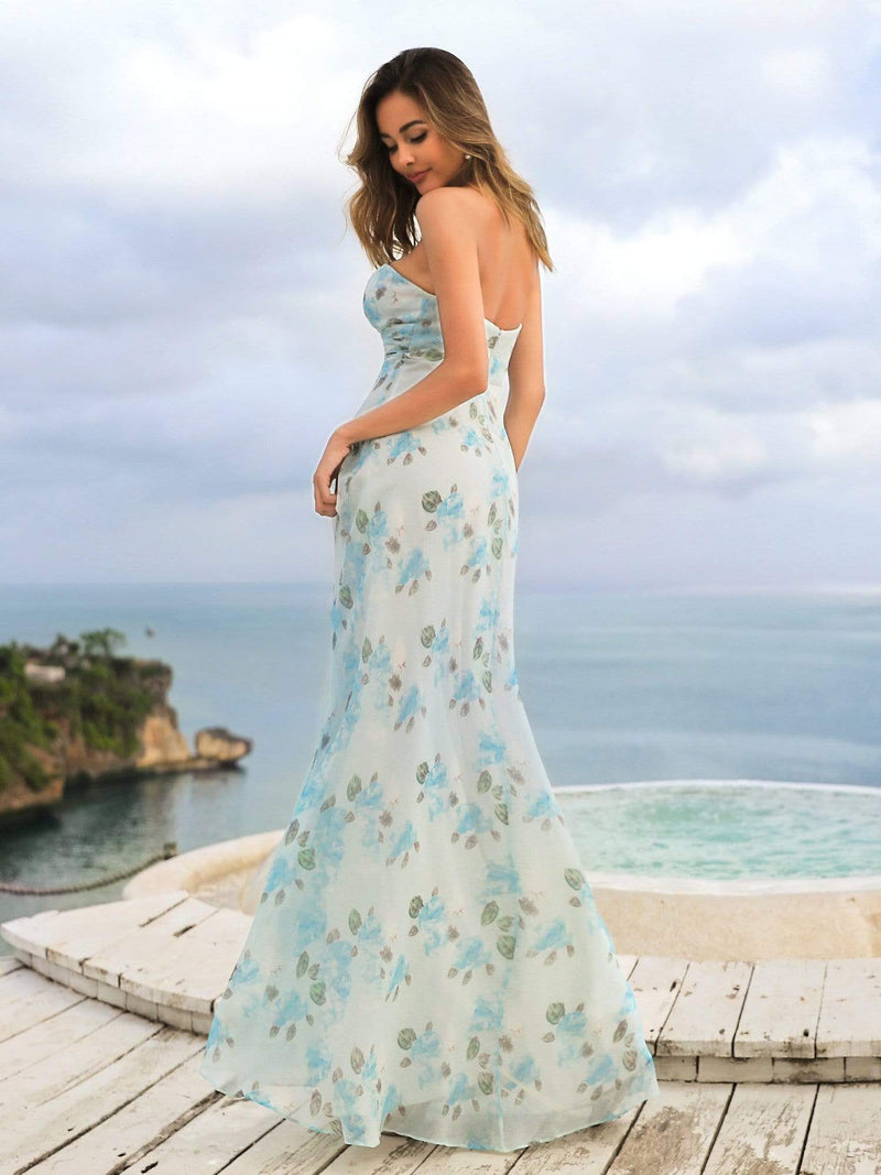 Strapless Long Floral Print Maxi Dress-Sky Blue 6