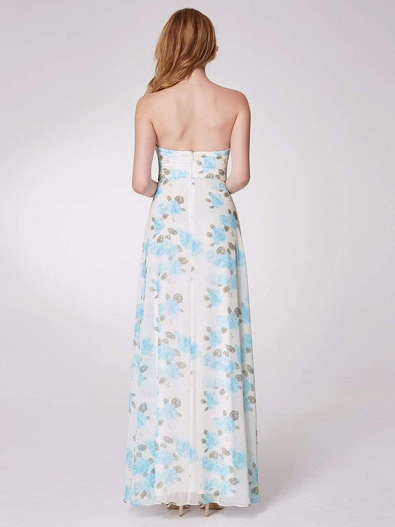 Strapless Long Floral Print Maxi Dress-Sky Blue 8