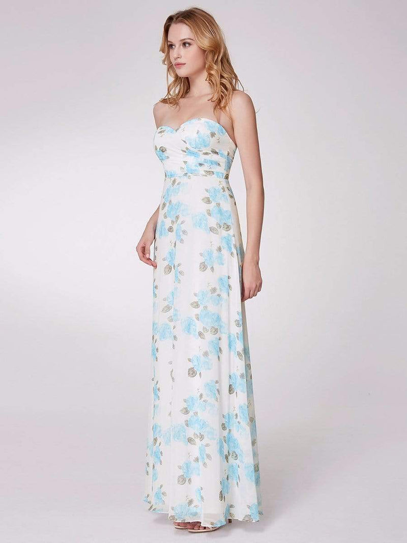 Strapless Long Floral Print Maxi Dress-Sky Blue 10