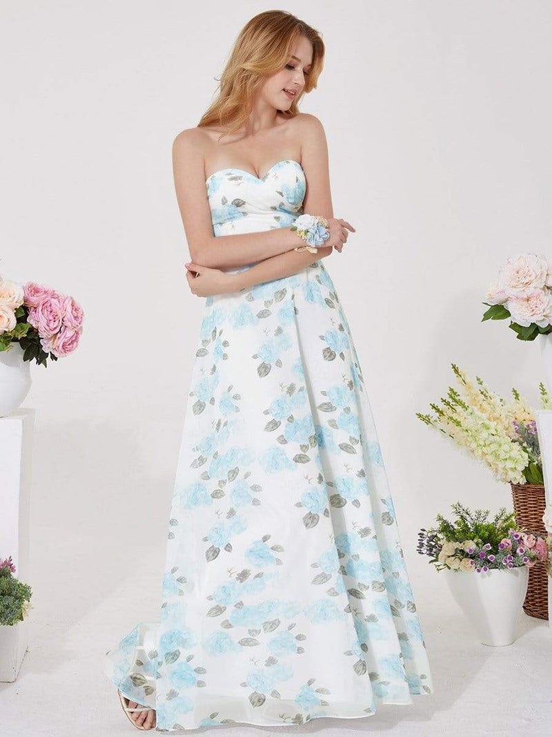 Strapless Long Floral Print Maxi Dress-Sky Blue 12