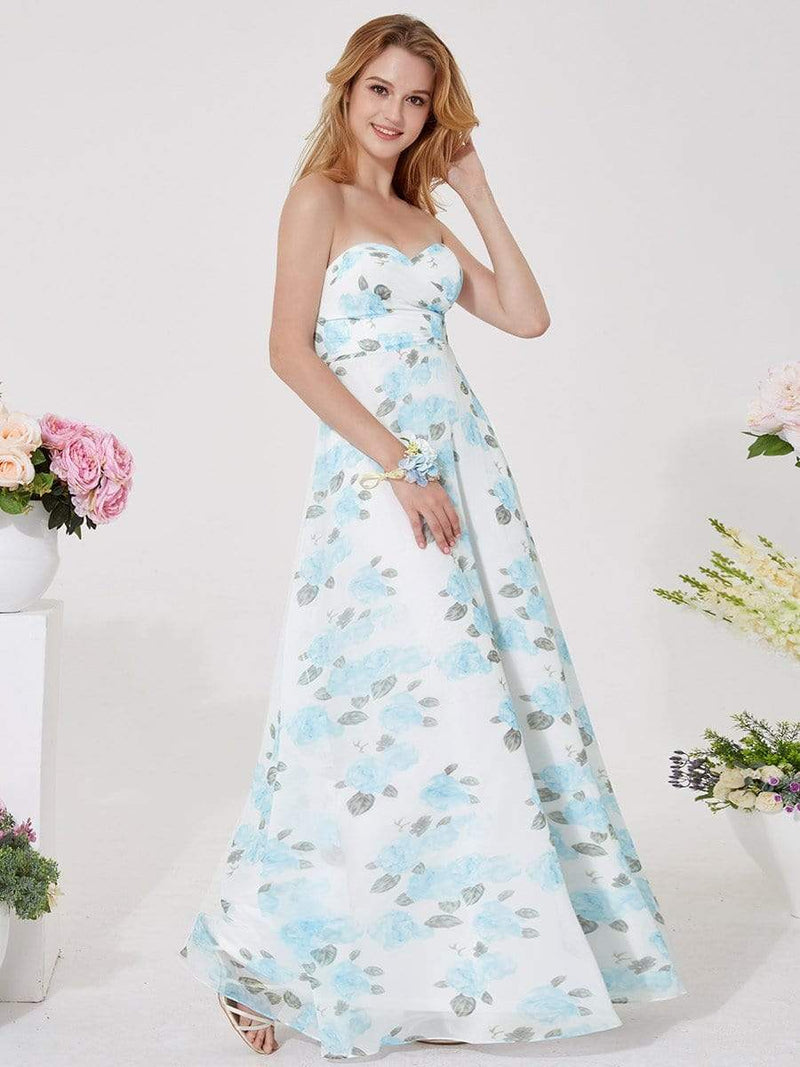 Strapless Long Floral Print Maxi Dress-Sky Blue 13