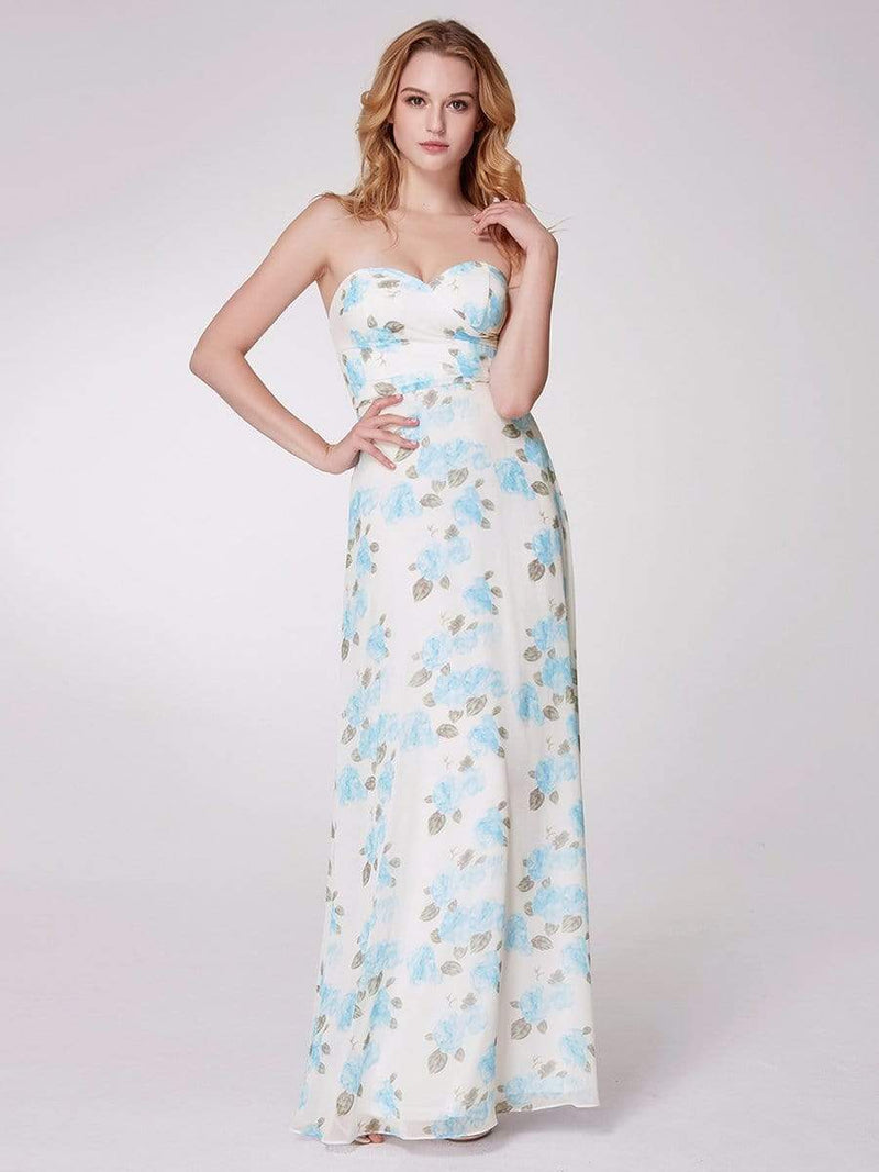 Strapless Long Floral Print Maxi Dress-Sky Blue 7