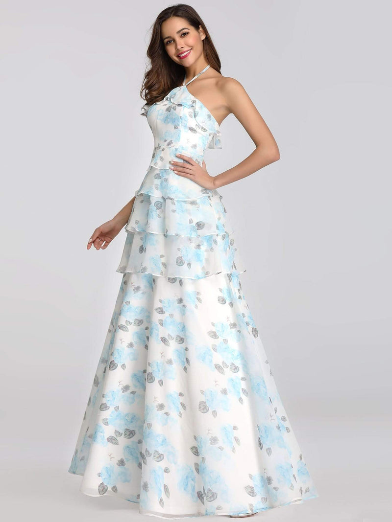 Floral Print Halter Maxi Dress-Sky Blue 6