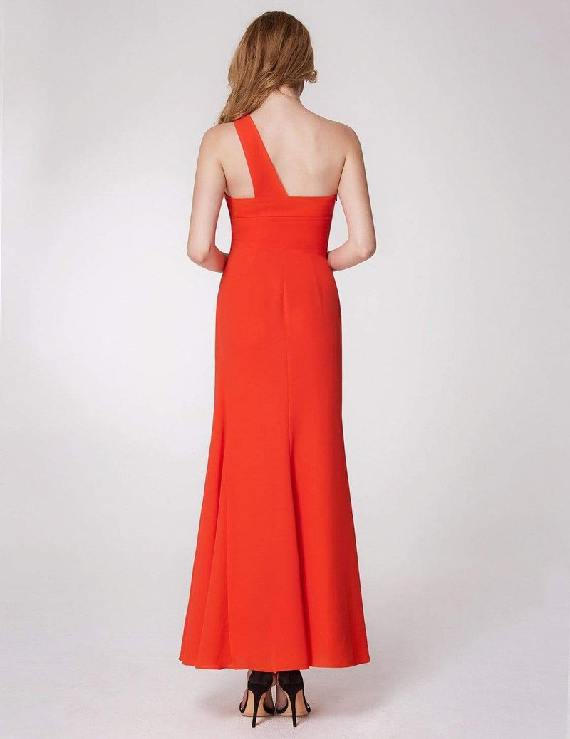 One Shoulder Fitted A Line Long Party Dress-Orange 3