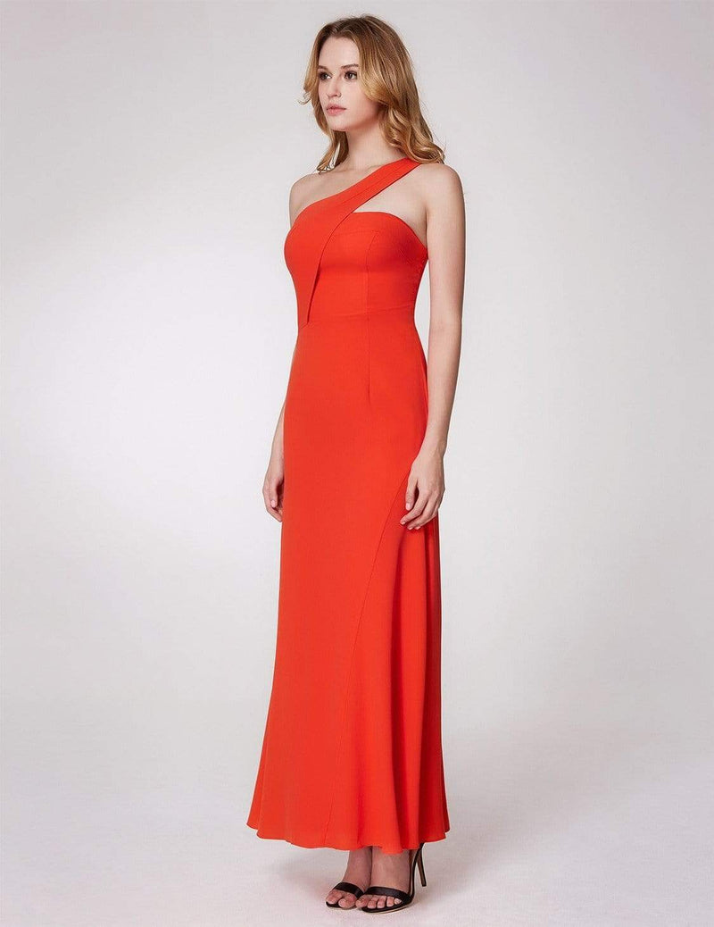 One Shoulder Fitted A Line Long Party Dress-Orange 5