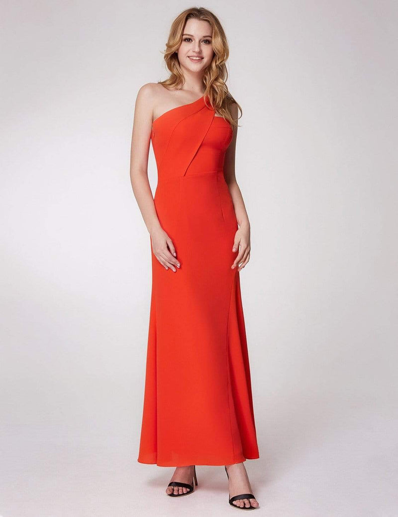 One Shoulder Fitted A Line Long Party Dress-Orange 2
