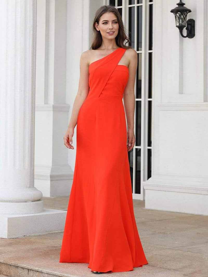One Shoulder Fitted A Line Long Party Dress-Orange 1