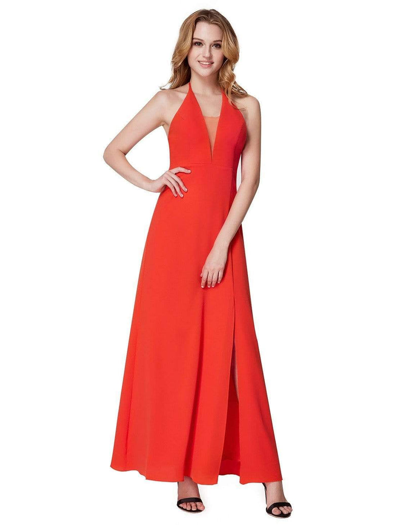 V Neck Halter Long Party Dress-Orange 2