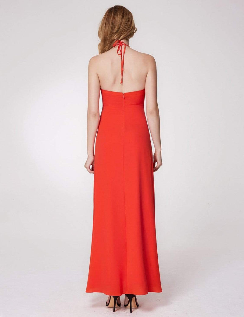 V Neck Halter Long Party Dress-Orange 3
