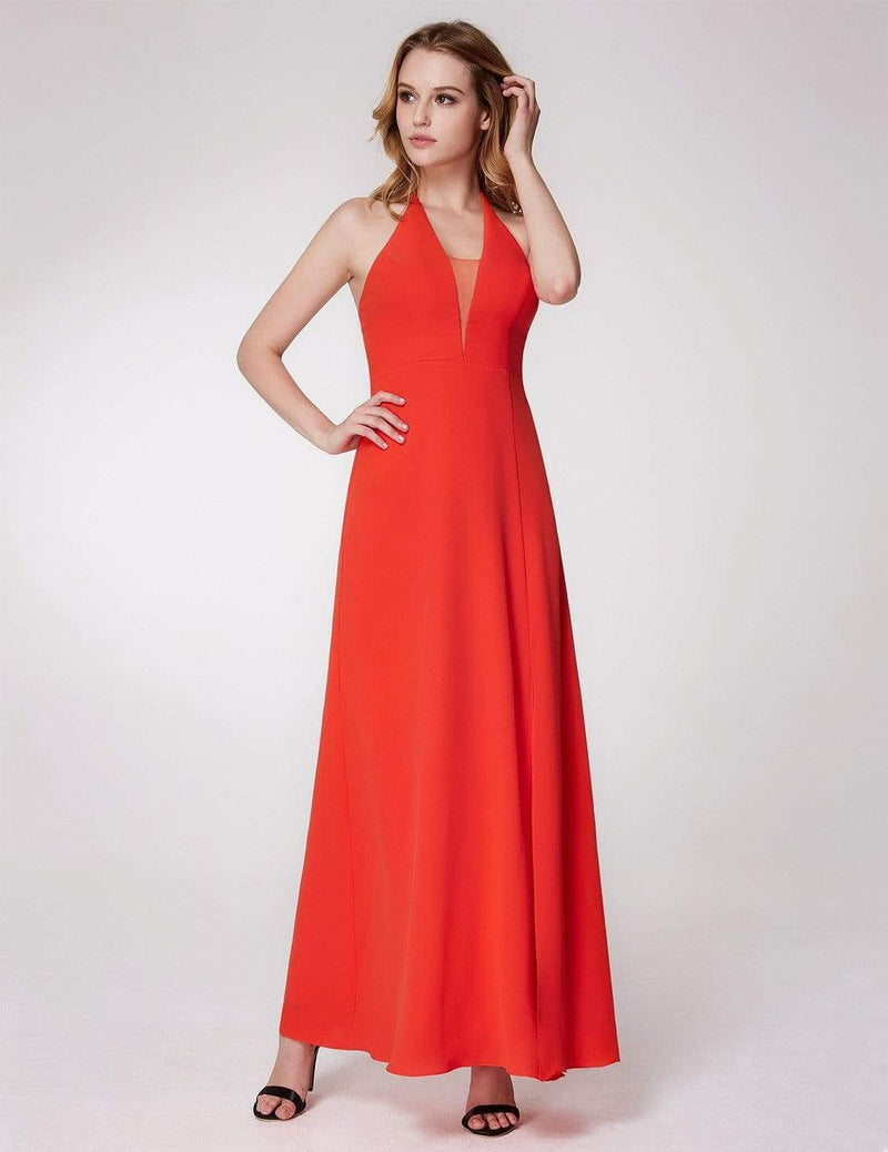 V Neck Halter Long Party Dress-Orange 4