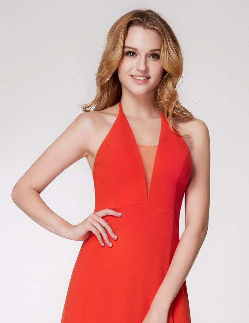 V Neck Halter Long Party Dress-Orange 5