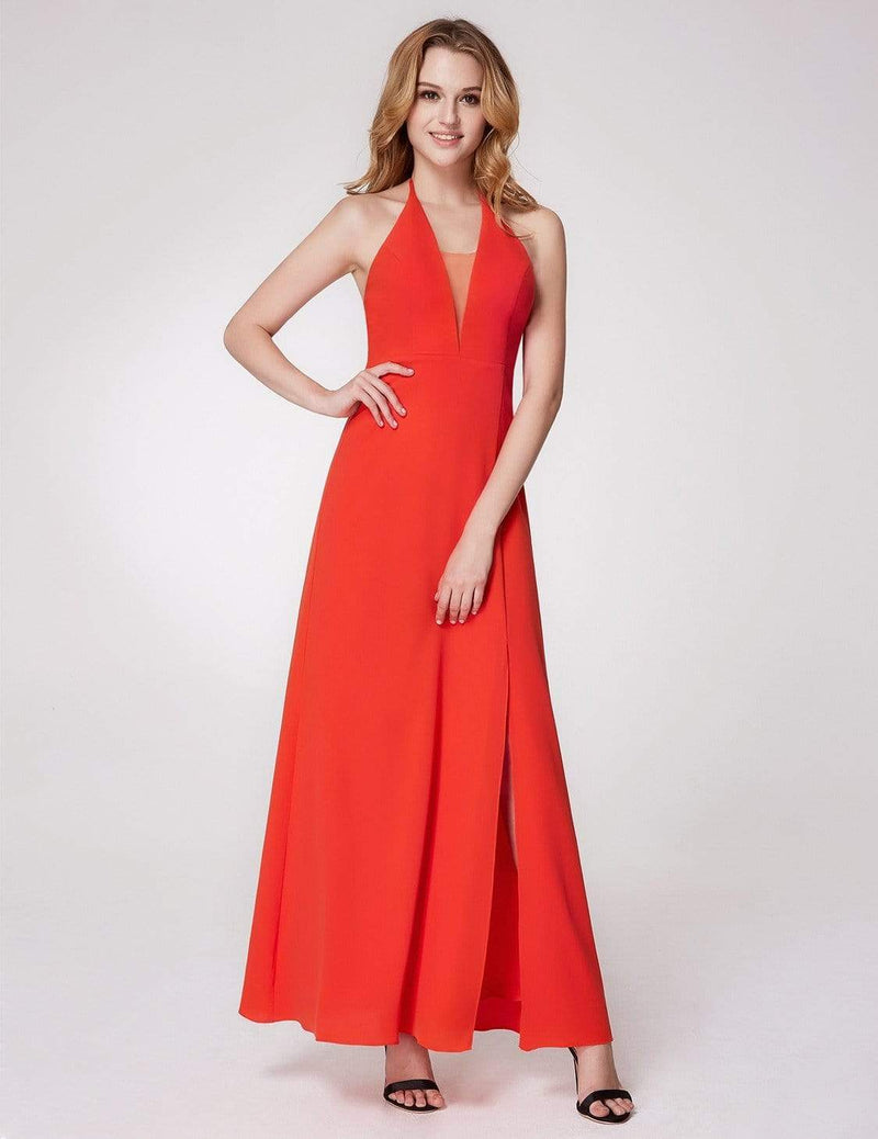 V Neck Halter Long Party Dress-Orange 1