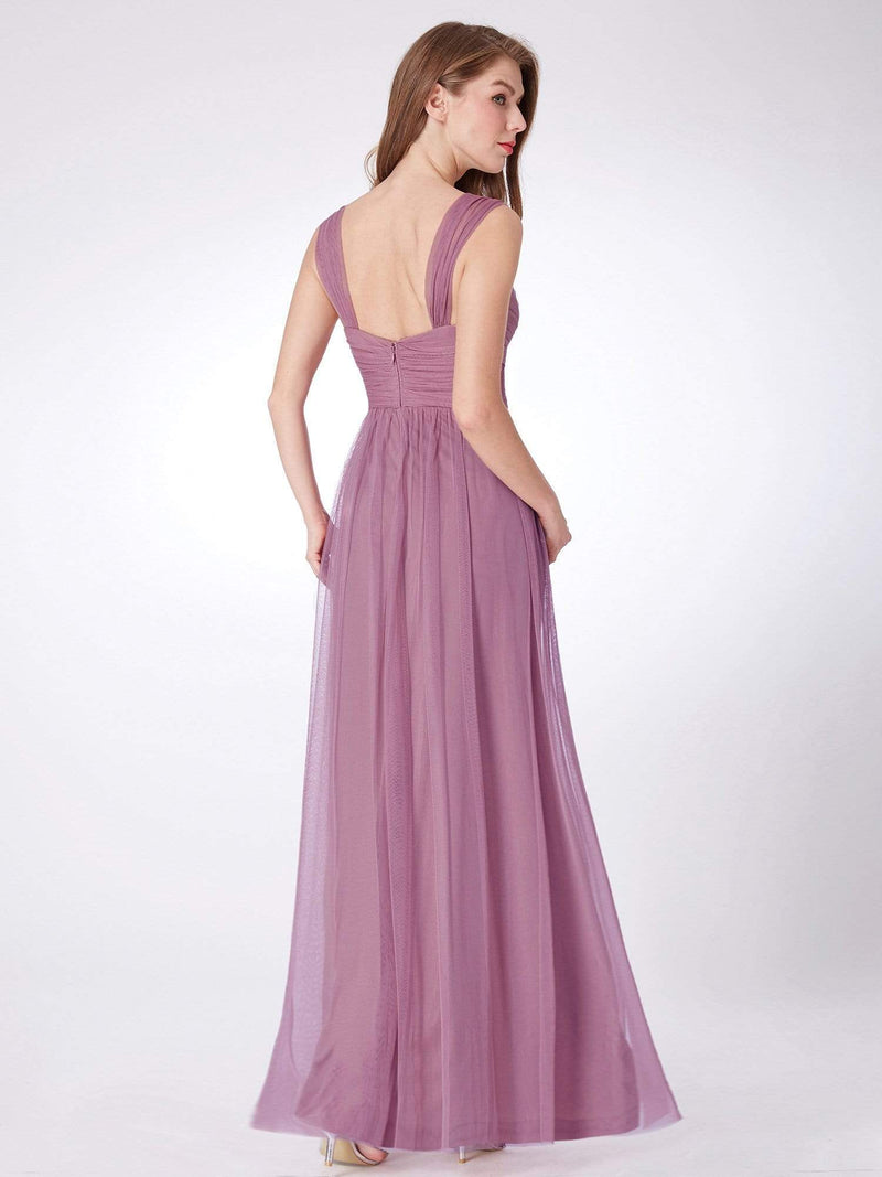 Long Purple Bridesmaid Dress With Ruched Bust-Purple Orchid 2