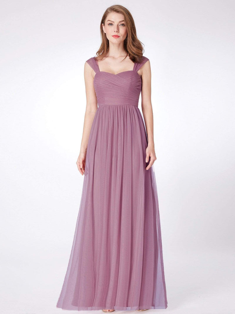 Long Purple Bridesmaid Dress With Ruched Bust-Purple Orchid 3