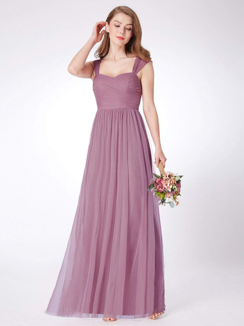 Long Purple Bridesmaid Dress With Ruched Bust-Purple Orchid 4