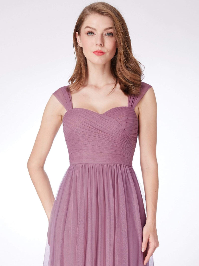 Long Purple Bridesmaid Dress With Ruched Bust-Purple Orchid 5