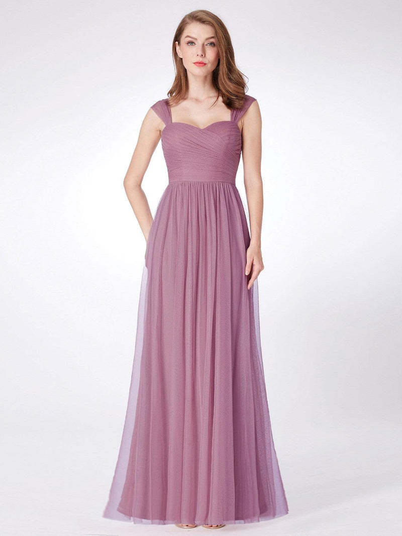 Long Purple Bridesmaid Dress With Ruched Bust-Purple Orchid 1
