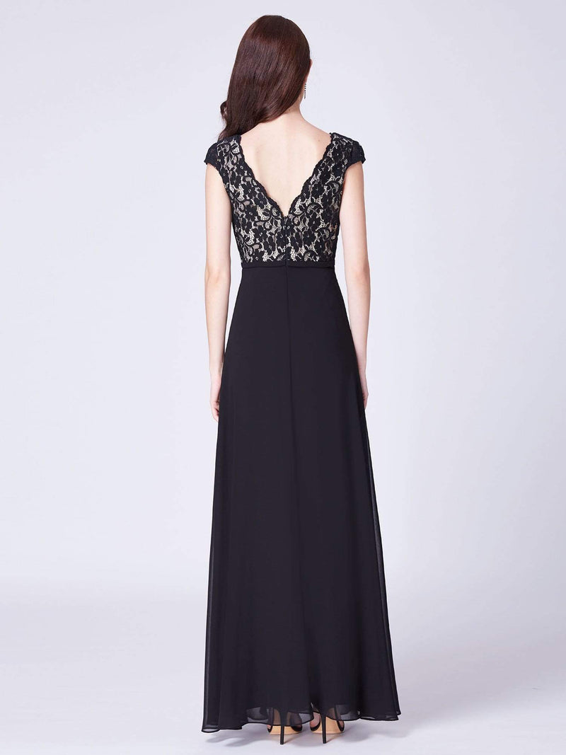 Long Evening Dress With Lace Bust-Black 2