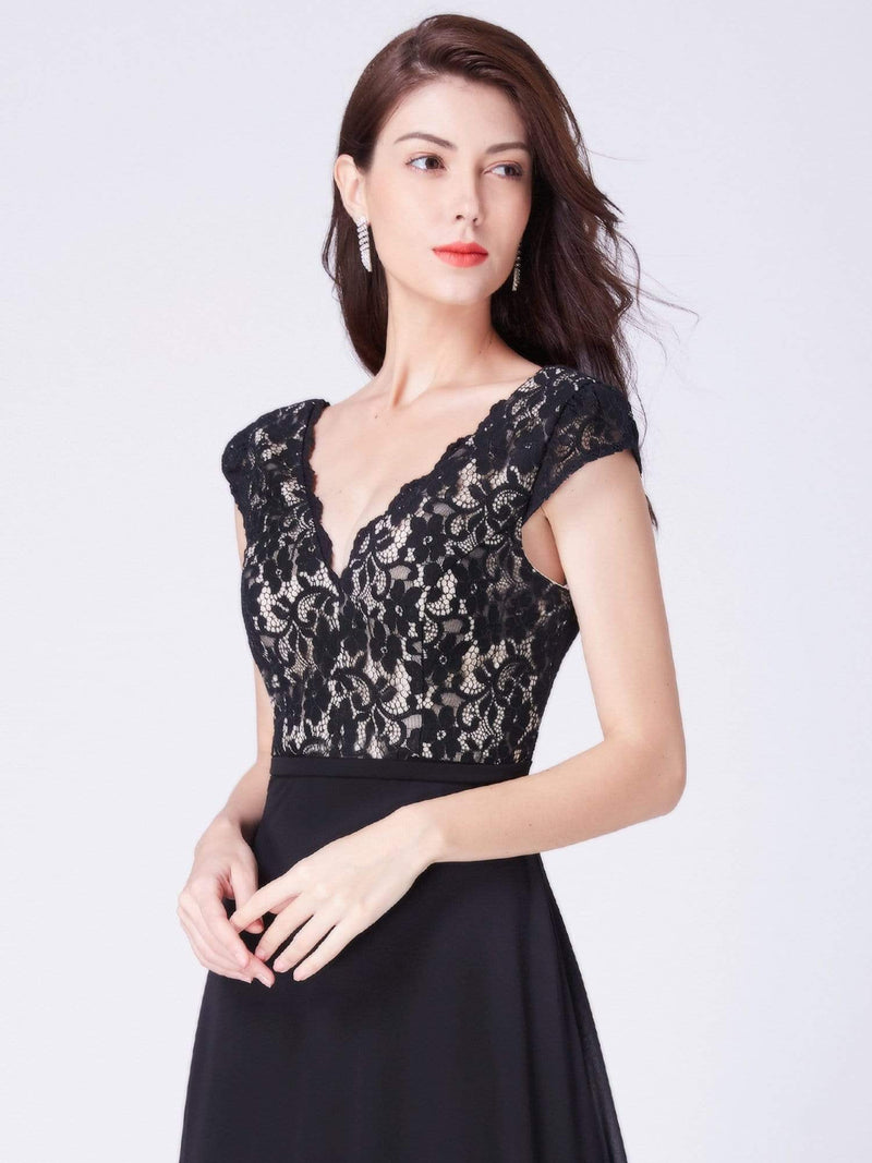 Long Evening Dress With Lace Bust-Black 5