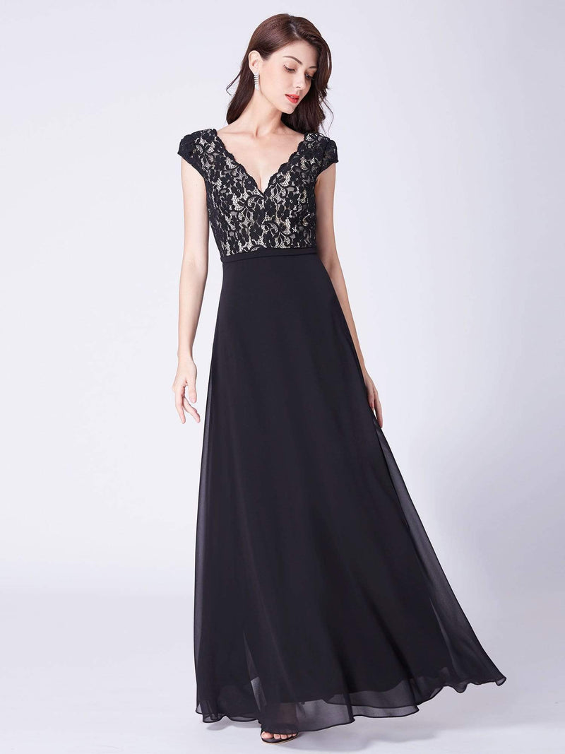 Long Evening Dress With Lace Bust-Black 1