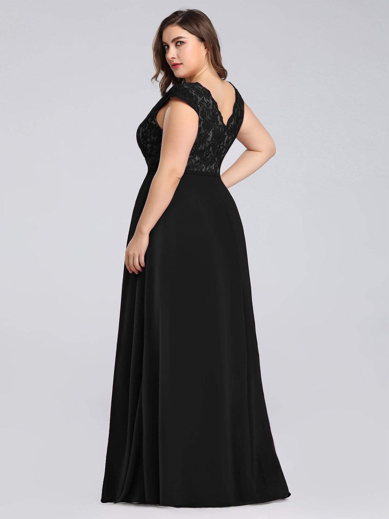 Long Evening Dress With Lace Bust-Black 7