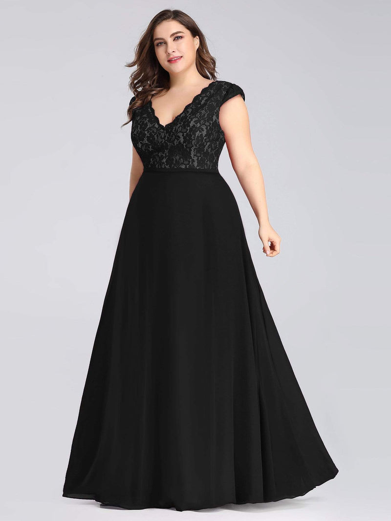 Long Evening Dress With Lace Bust-Black 6